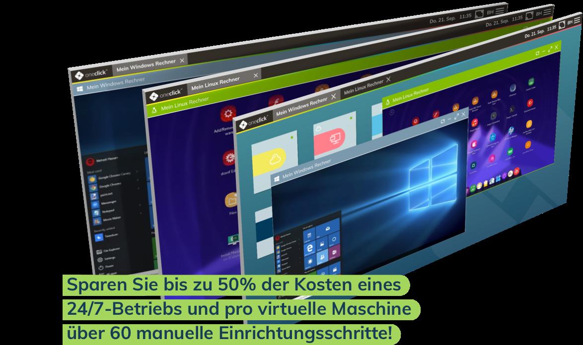 Sparen Sie bis zu 50% der Kosten eines 24/7-Betriebs und pro virtuelle Maschine über 60 manuelle Einrichtungsschritte