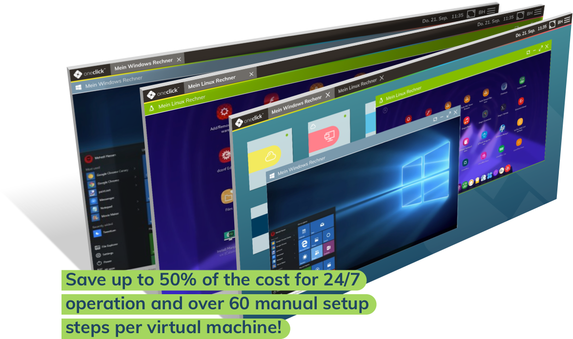 Save up to 50% of the cost for 24/7 operation and over 60 manual setup steps per virtual machine