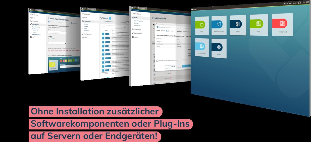 Ohne Installation zusätzlicher Softwarekomponenten oder Plug-Ins auf Servern oder Endgeräten